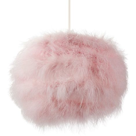 Modern and Distinctive Small Real Pink Feather Decorated Pendant Light Shade by Happy Homewares