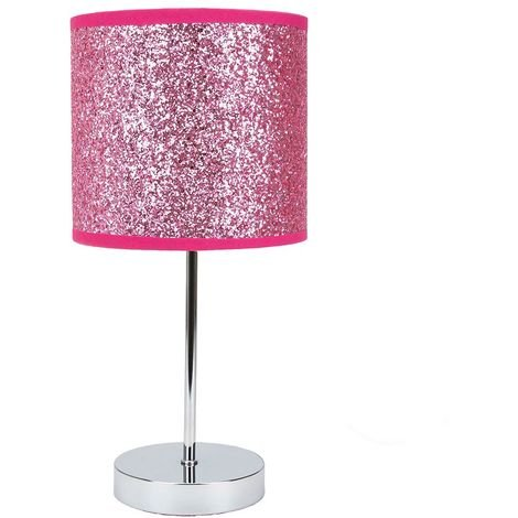 Modern and Novelty Pink Glitter Table Lamp with Chrome Metal Base and Switch by Happy Homewares