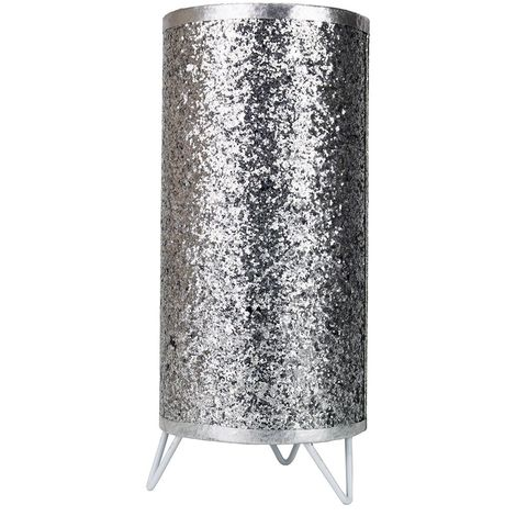 Modern and Novelty Silver Glitter Table Lamp with White Metal Feet and Switch by Happy Homewares