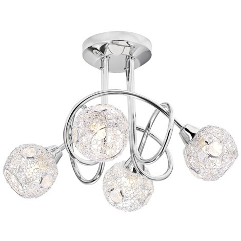 Modern and Trendy Chrome Ceiling Light with Mesh and Crystal Shades by Happy Homewares