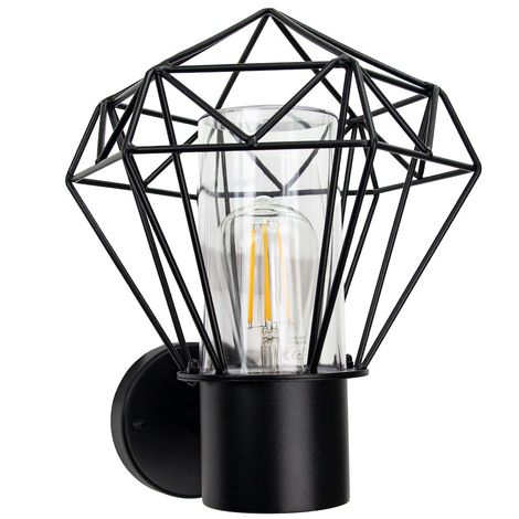 Modern and Trendy IP44 Outdoor Cage Wall Light in Matt Black with Clear Shade by Happy Homewares