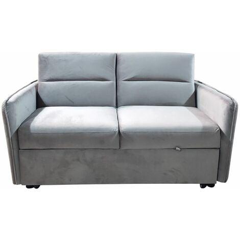 Modern and Versatile Velvet 2 Seater Guest Sofa Bed - Grey