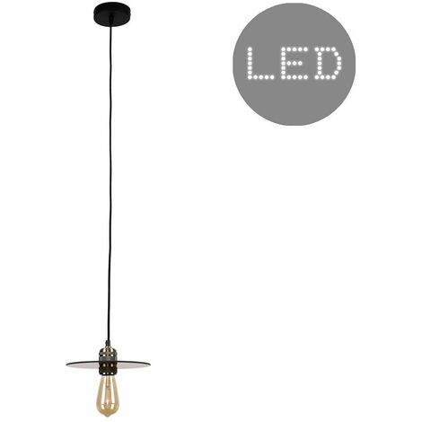 Brass Ceiling Lampholder + An Amber Glass Shade 4W LED Filament Bulb - Warm White