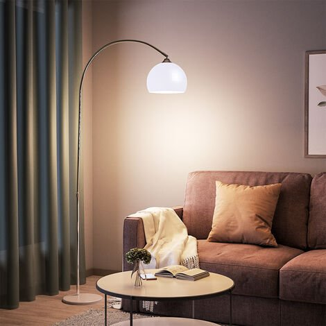 Modern Arched Floor Lamp Tall Curved Reading Light With Marble Base