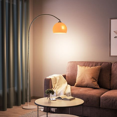 """main image of """"Modern Arched Floor Lamp Tall Curved Reading Light With Marble Base"""""""