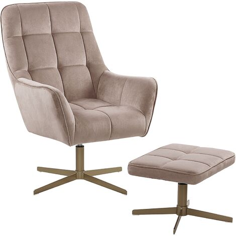 Modern Armchair and Footstool Set Beige Velvet Upholstery Gold Metal Legs Molle