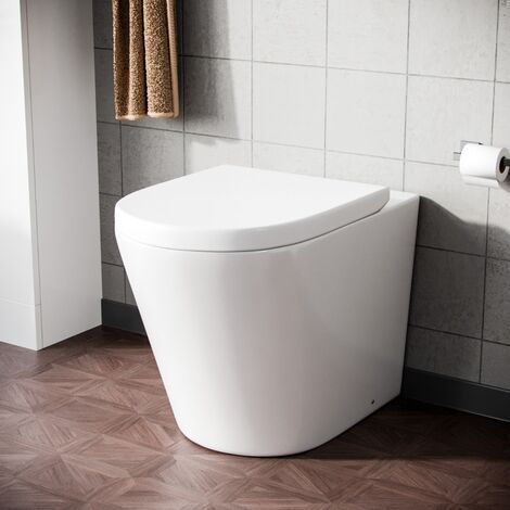 Modern Back To Wall Space Saving Round Toilet Pan And Seat Bathroom