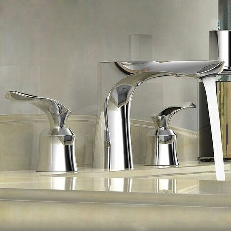 Modern basin mixer tap in solid chromed brass