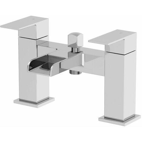 Modern Bath Mixer Filler Tap Chrome Waterfall Spout Twin Lever Shower Bathroom