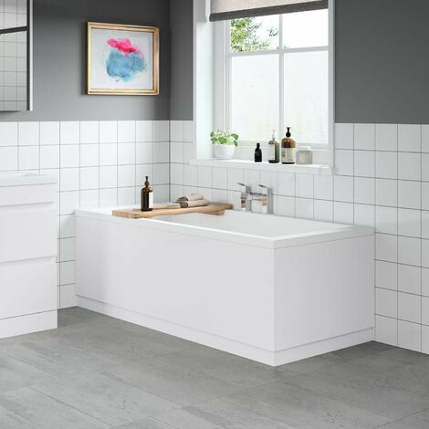 Modern Bathroom 1700 Front & 700 End Bath Panel Pack 18mm MDF White Gloss Plinth