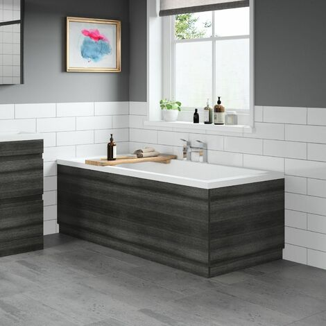 Modern Bathroom 1700 Front & 700 End Bath Panel Pack MDF Charcoal Grey Plinth