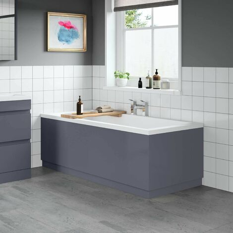 Modern Bathroom 1700 Front & 750 End Bath Panel Pack 18mm MDF Grey Gloss Plinth