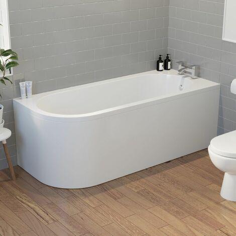 Modern Bathroom 1700 J Shape Right Hand Bath Front Panel Corner Bathtub Acrylic