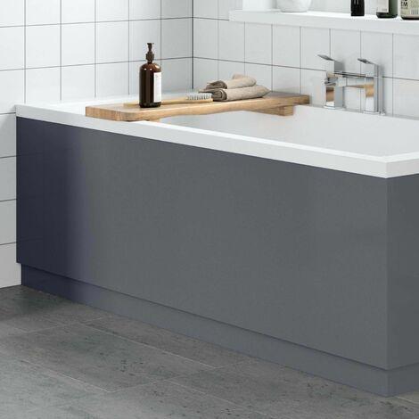 Modern Bathroom 1700mm Front Bath Panel 18mm MDF Grey Gloss Plinth Easy Cut
