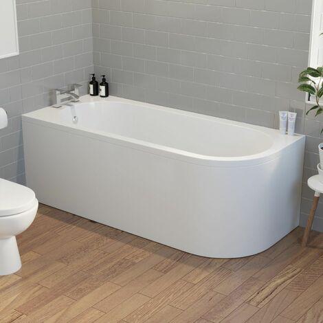 Modern Bathroom 1700mm J Shape Left Hand Bath Front Panel Corner Bathtub Acrylic
