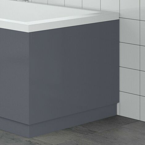 Modern Bathroom 700mm End Bath Panel 18mm MDF Grey Gloss Wooden Plinth Easy Cut