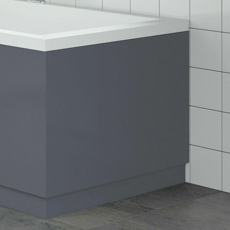 Modern Bathroom 750mm End Bath Panel 18mm MDF Grey Gloss Wooden Plinth Easy Cut
