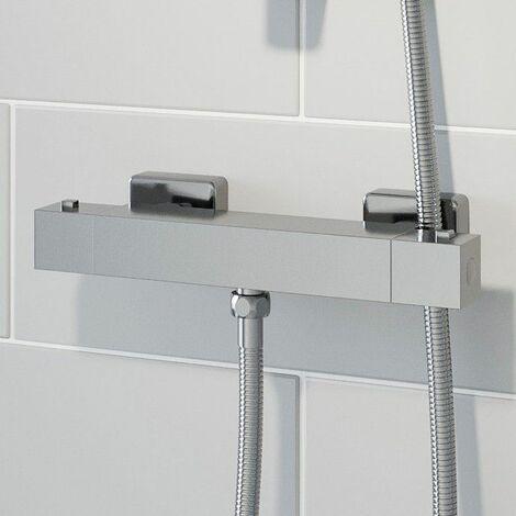 Modern Bathroom Bar Shower Mixer Valve Brass Square Chrome Exposed Bottom Outlet