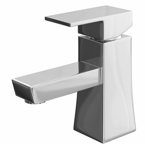 Modern Bathroom Basin Sink Mixer Tap Monobloc Square Brass Single Lever Chrome