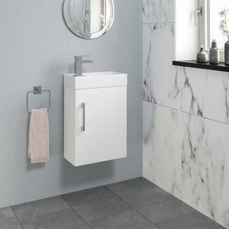 Modern Bathroom Basin Sink Wall Hung Vanity Unit 400mm Gloss White