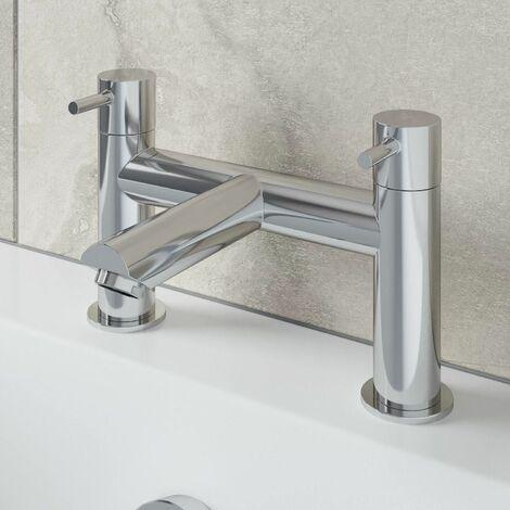"main image of ""Modern Bathroom Bath Filler Mixer Tap Brass Deck Mounted Round Chrome Twin Lever"""