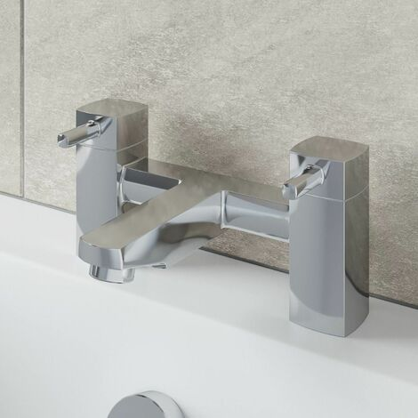 Modern Bathroom Bath Filler Mixer Tap Square Chrome Deck Mounted Lever Handles