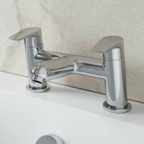 Modern Bathroom Bath Mixer Filler Tap Brass Twin Lever Deck Mounted Chrome Round