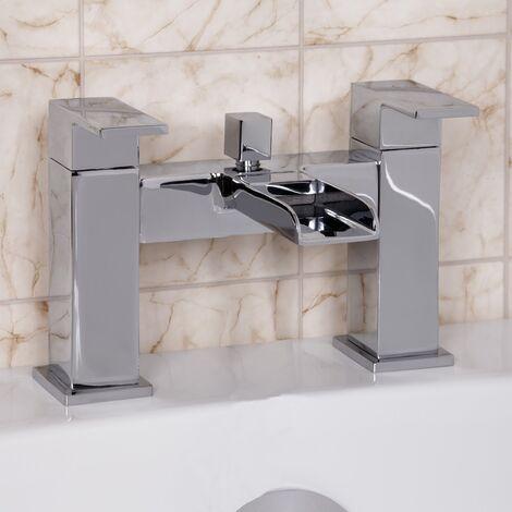 Modern Bathroom Bath Mixer Filler Tap Chrome Waterfall Spout Twin Lever Shower
