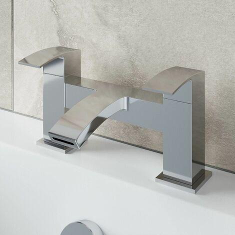Modern Bathroom Bath Mixer Filler Tap Curved Spout Square Lever Handles Chrome