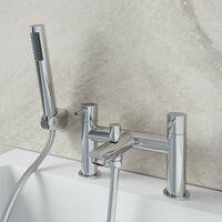 Modern Bathroom Bath Shower Mixer Tap Handset & Hose Deck Mounted
