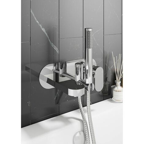 Modern Bathroom Bath Shower Mixer Tap Round Hand Held Wall Mounted Single Lever