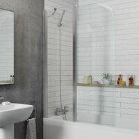 Modern Bathroom Bath Shower Screen 2 Section Curved Chrome 1000mm Reversible 6mm