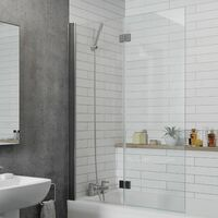Modern Bathroom Bath Shower Screen 2 Section Square Chrome 1000mm Reversible 6mm