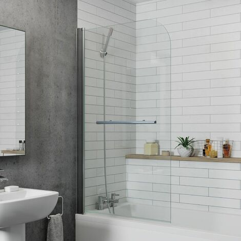 Modern Bathroom Bath Shower Screen Curved Chrome 800mm Reversible Towel Rail 6mm