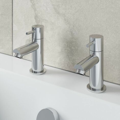 Modern Bathroom Bath Taps Hot & Cold Pair Twin Brass Round Lever Handle Chrome