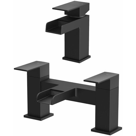 Modern Bathroom Black Waterfall Basin Bath Mixer Tap Set Square Hot and Cold