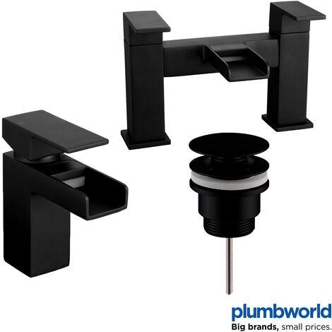 "main image of ""Modern Bathroom Black Waterfall Basin Sink Bath Mono Mixer Tap Taps Set Waste"""