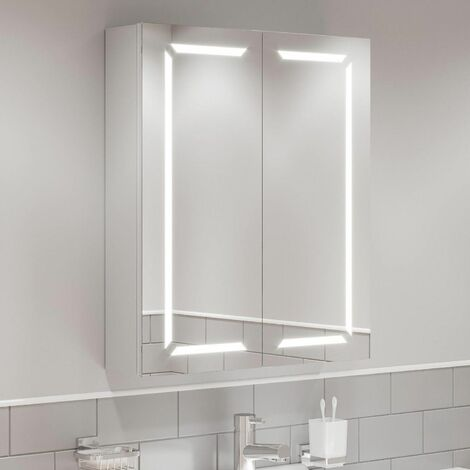 Modern Bathroom Cabinet/LED Mirror Wall Hung Illuminated Shaver Storage 600x700