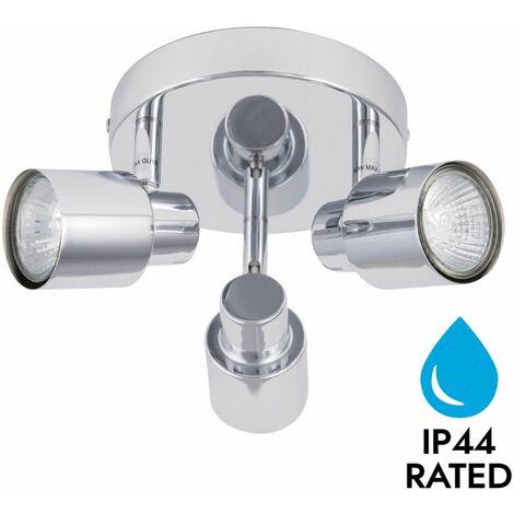 Modern Bathroom Ceiling Light Spotlight 3 Way Polished Chrome Fitting