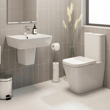 Modern Bathroom Ceramic White Toilet WC Basin Sink Semi Pedestal Single Tap Hole