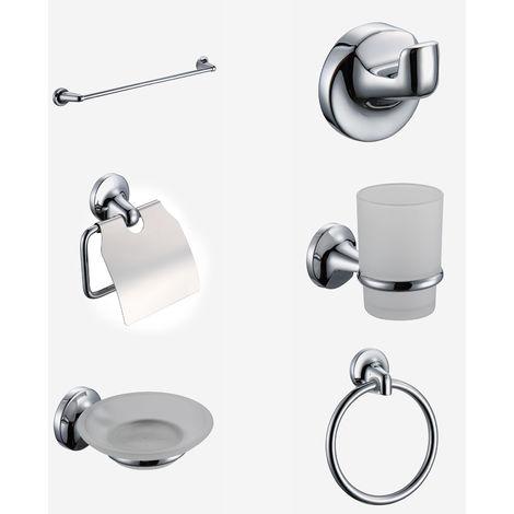 Modern Bathroom Chrome Glass, Brass Accessory Set