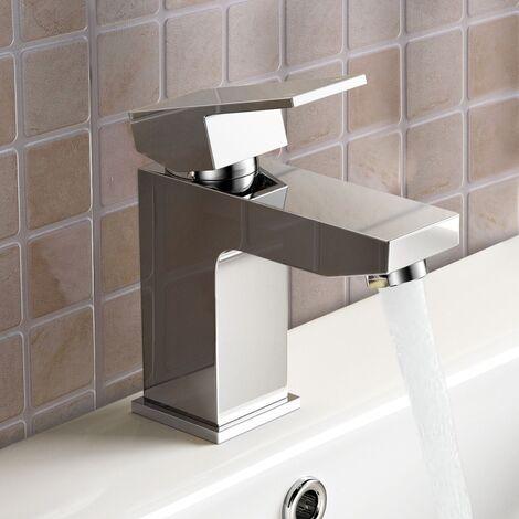 Modern Bathroom Chrome Solid Brass Basin Mixer Tap