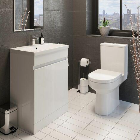 Modern Bathroom Cloakroom Suite Close Coupled Toilet 600mm Vanity Unit Sink