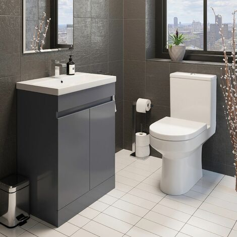Modern Bathroom Cloakroom Suite Close Coupled Toilet Grey Vanity Unit Sink 600mm