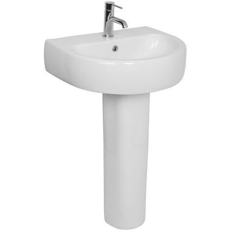 Modern Bathroom Cloakroom White Full Pedestal 560mm Basin Compact Single Tap Hole Sink