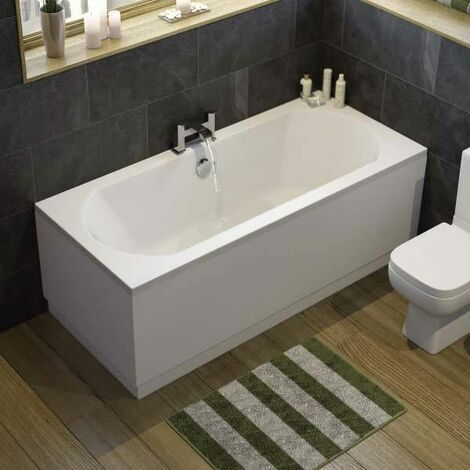 Modern Bathroom Double Ended 1700 x 750mm Curved Bath Side Panel Acrylic White