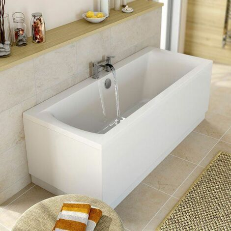 Modern Bathroom Double Ended 1700 x 750mm Square Bath Side Panel Acrylic White