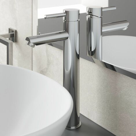 Modern Bathroom High Rise Basin Mixer Tap Tall Chrome Single Lever Solid Brass