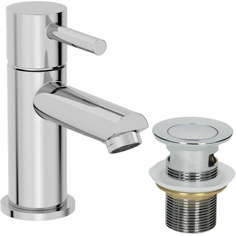 Modern Bathroom Mini Mono Basin Mixer Tap Chrome Waste
