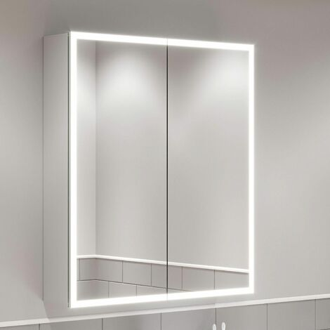 Modern Bathroom Mirror Cabinet IP44 Rated LED Illuminated Wall Mounted 600 x 700